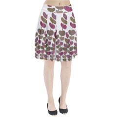 Magenta decorative plant Pleated Skirt