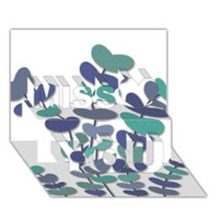 Blue Decorative Plant Miss You 3d Greeting Card (7x5)