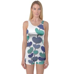Blue decorative plant One Piece Boyleg Swimsuit