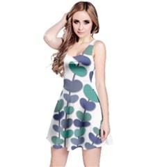 Blue decorative plant Reversible Sleeveless Dress