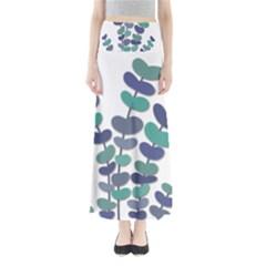 Blue decorative plant Maxi Skirts