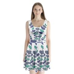 Blue Decorative Plant Split Back Mini Dress