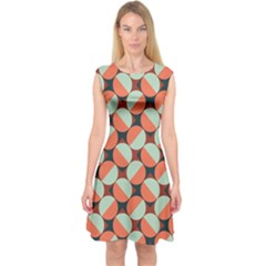 Modernist Geometric Tiles Capsleeve Midi Dress