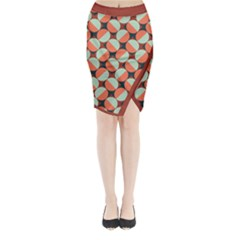 Modernist Geometric Tiles Midi Wrap Pencil Skirt