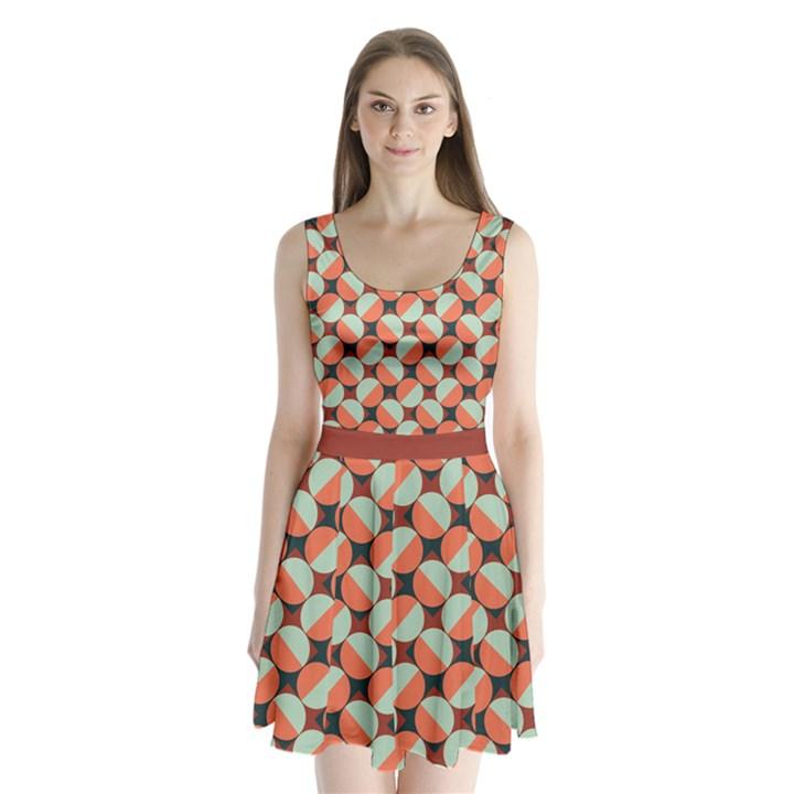 Modernist Geometric Tiles Split Back Mini Dress
