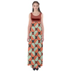 Modernist Geometric Tiles Empire Waist Maxi Dress