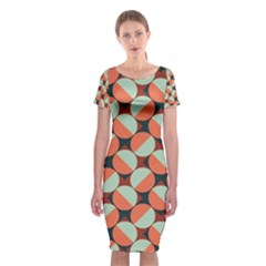 Modernist Geometric Tiles Classic Short Sleeve Midi Dress