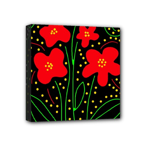 Red flowers Mini Canvas 4  x 4