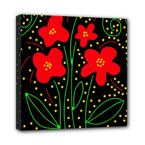Red flowers Mini Canvas 8  x 8