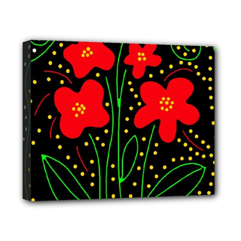 Red flowers Canvas 10  x 8