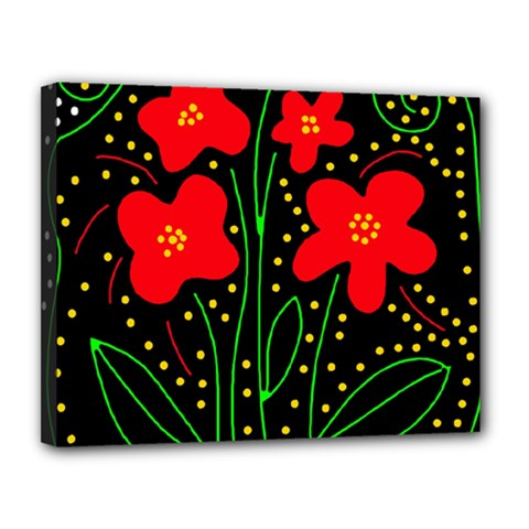 Red flowers Canvas 14  x 11