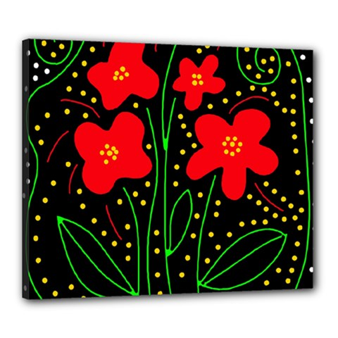 Red flowers Canvas 24  x 20