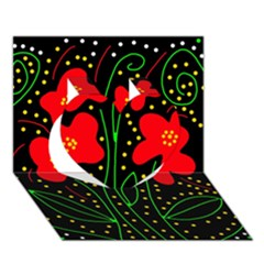 Red flowers Heart 3D Greeting Card (7x5)