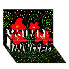 Red flowers YOU ARE INVITED 3D Greeting Card (7x5)