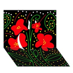 Red flowers Apple 3D Greeting Card (7x5)