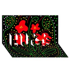 Red flowers HUGS 3D Greeting Card (8x4)