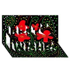 Red flowers Best Wish 3D Greeting Card (8x4)