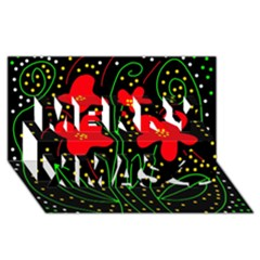 Red flowers Merry Xmas 3D Greeting Card (8x4)