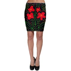 Red flowers Bodycon Skirt