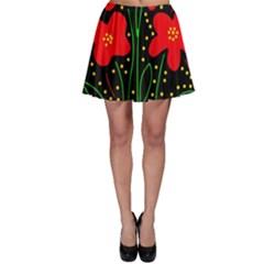 Red flowers Skater Skirt