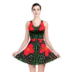 Red flowers Reversible Skater Dress