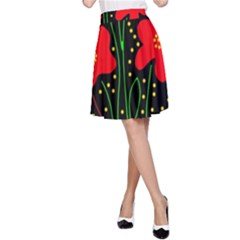 Red flowers A-Line Skirt