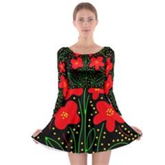 Red flowers Long Sleeve Skater Dress