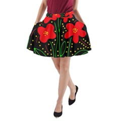 Red flowers A-Line Pocket Skirt