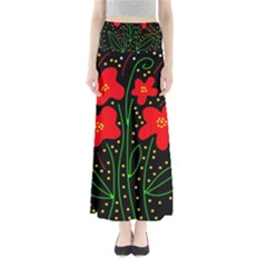 Red flowers Maxi Skirts