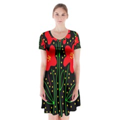 Red flowers Short Sleeve V-neck Flare Dress