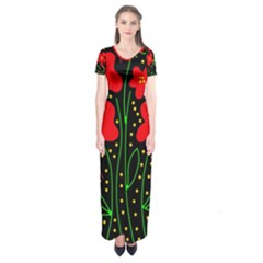 Red flowers Short Sleeve Maxi Dress