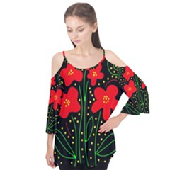 Red Flowers Flutter Tees