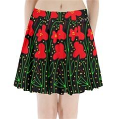 Red flowers Pleated Mini Skirt