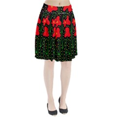 Red flowers Pleated Skirt