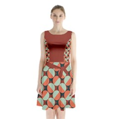 Modernist Geometric Tiles Sleeveless Chiffon Waist Tie Dress