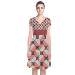 Modernist Geometric Tiles Short Sleeve Front Wrap Dress