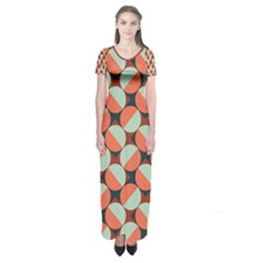 Modernist Geometric Tiles Short Sleeve Maxi Dress