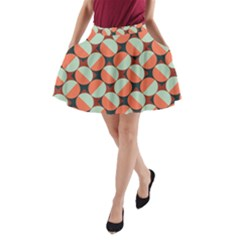 Modernist Geometric Tiles A Line Pocket Skirt