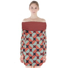 Modernist Geometric Tiles Long Sleeve Off Shoulder Dress