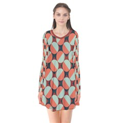 Modernist Geometric Tiles Long Sleeve V Neck Flare Dress