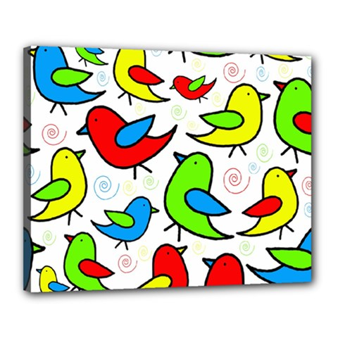 Colorful cute birds pattern Canvas 20  x 16