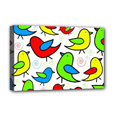 Colorful cute birds pattern Deluxe Canvas 18  x 12
