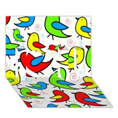Colorful cute birds pattern I Love You 3D Greeting Card (7x5)