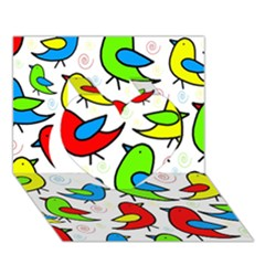 Colorful cute birds pattern Heart 3D Greeting Card (7x5)