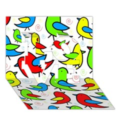 Colorful cute birds pattern LOVE 3D Greeting Card (7x5)