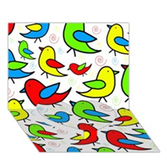 Colorful cute birds pattern Heart Bottom 3D Greeting Card (7x5)