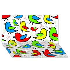 Colorful cute birds pattern Twin Heart Bottom 3D Greeting Card (8x4)