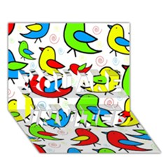 Colorful cute birds pattern YOU ARE INVITED 3D Greeting Card (7x5)