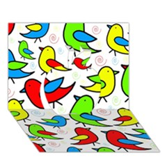 Colorful cute birds pattern Apple 3D Greeting Card (7x5)