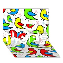 Colorful cute birds pattern HOPE 3D Greeting Card (7x5)